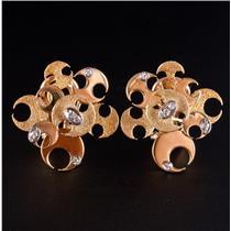 "Vintage 1960's 18k Yellow Gold Diamond ""Half Moon"" Huggie Earrings .20ctw"