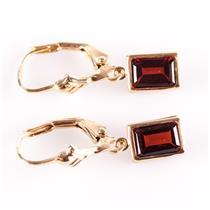 14k Yellow Gold Emerald Cut Garnet Solitaire Dangle Earrings 1.50ctw