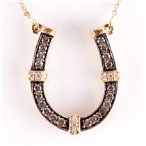 "14k Yellow Gold Brown Diamond & Diamond Horseshoe Pendant W/ 20"" Chain .49ctw"
