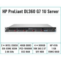 HP ProLiant DL360 G7 1U Server 2×Xeon Six-Core 2.66GHz + 48GB RAM + 4×900GB SAS