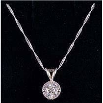 "14k White Gold Round Brilliant Diamond Halo Style Pendant W/ 18"" Chain .48ctw"