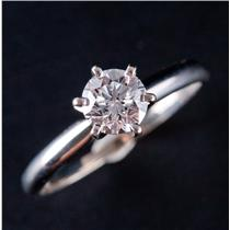 14k White Gold Round Brilliant Cut Diamond Solitaire Engagement Ring .75ct