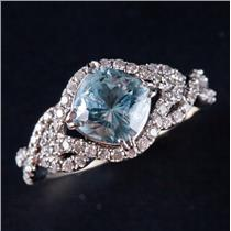 14k White Gold Mount Antero Aquamarine & Diamond Custom Engagement Ring 1.97ctw