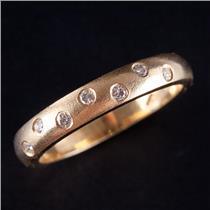 18k Yellow Gold Round Cut Diamond Flush Set Ring W/ Satin Finish .21ctw
