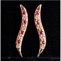 10k Yellow Gold Round Cut Lab Ruby & Cubic Zirconia Climber Earrings .24ctw