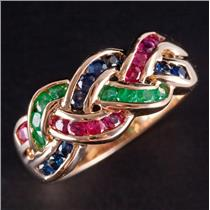 14k Yellow Gold Round Cut Sapphire / Ruby / Emerald Knot Style Ring 1.48ctw