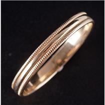 10k Yellow Gold Traditional Milgrain Style Half Round Wedding Band / Ring 1.7g