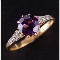 Vintage 1910's 18k Yellow Gold Amethyst & Diamond Engagement Ring 1.35ctw