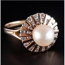 Vintage 1970's 14k Yellow Gold Cultured Pearl & Diamond Cocktail Ring .72ctw