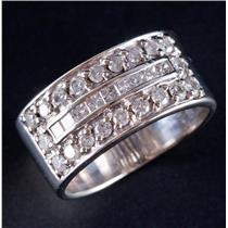 14k White Gold Round & Princess Cut Diamond Wide Three Row Ring 1.14ctw