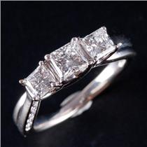 18k White Gold Princess Cut Celebration Diamond Engagement Ring .98ctw