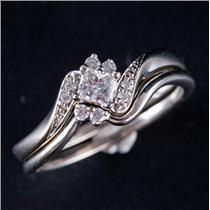 10k White Gold Princess Cut Diamond Solitaire Engagement Wedding Ring Set .28ctw