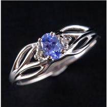 14k White Gold Oval Cut Tanzanite Solitaire Ring W/ Diamond Accents .28ctw