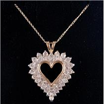"10k Yellow Gold Round Cut Diamond Heart Pendant W/ 16"" Chain 1.38ctw"