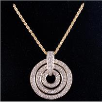 "14k Yellow Gold Round Cut Diamond Three-Circle Pendant W/ 20"" Chain .63ctw"