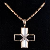 "10k Yellow Gold Mother of Pearl / Onyx / Diamond Cross Pendant W/ 21.5"" Chain"
