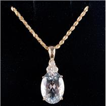 14k Yellow Gold Oval Cut Aquamarine Solitaire Necklace W/ Diamond Accent 3.68ctw