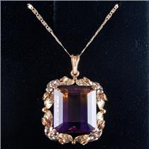 Vintage 1960's 14k Black Hills Gold Ametrine Solitaire Necklace 19.18ctw