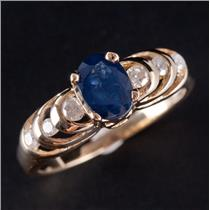 14k Yellow Gold Oval Cut Sapphire Solitaire Engagement Ring W/ Diamonds 1.29ctw