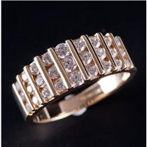 14k Yellow Gold Channel Set Round Cut Cubic Zirconia Ring 1.0ctw