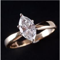 """14k Yellow & White Gold """"F"""" Diamond Solitaire Engagement Ring W/ GIA Cert 1.0ct"""