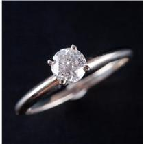14k White Gold Round Cut Four Prong Diamond Solitaire Engagement Ring .50ct