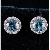 14k White Gold Round Cut Aquamarine & Diamond Halo Stud Earrings 1.20ctw