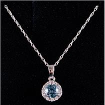 14k White Gold Round Cut Aquamarine & Diamond Halo Pendant W/ 16' Chain .60ctw