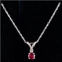 14k White Gold Round Cut Ruby Solitaire Necklace W/ Diamond Accent .29ctw