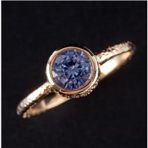 18k Yellow Gold Round Cut Ceylon Sapphire Solitaire Bezel Set Ring .79ct
