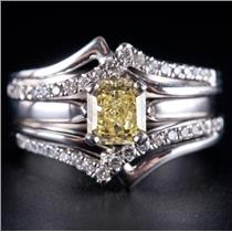 14k White Gold Radiant Cut Yellow Diamond Solitaire Engagement Ring Set 1.18ctw