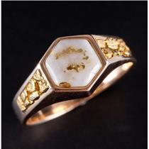 14k Yellow Gold Hexagon Cabochon Cut Gold In Quartz Gold Nugget Ring 6.5g
