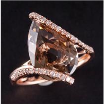 14k Rose Gold Pear Cut Smokey Quartz & Diamond Solitaire Cocktail Ring 5.19ctw