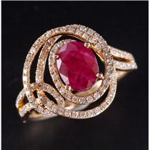 14k Yellow Gold Round Cut Ruby & Diamond Solitaire Cocktail Ring 2.09ctw