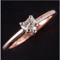 14k Rose & White Gold Heart Cut Diamond Solitaire Engagement Ring .30ct