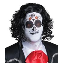 Adult Fabric Men's Day Of The Dead Male Mask with Attached Black Curly Wig