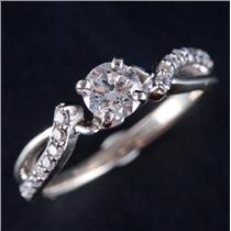 14k White Gold Round Cut Diamond Solitaire Engagement Ring W/ Accents .60ctw