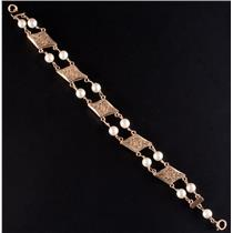 "Vintage 1960's 14k Yellow Gold Cultured Pearl Floral Bracelet 7.5"" Length"