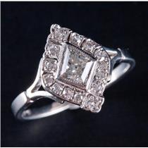 "Vintage 1920's Platinum Kite Cut ""G"" Diamond Engagement Ring 1.01ctw"