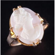 Vintage 1910's 10k Yellow Gold Natural Shell Cameo Ring Size 5.5