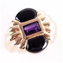 14k Yellow Gold Emerald Cut Amethyst & Onyx Ring .55ctw