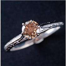 14k White Gold Round Cut Champagne Diamond Solitaire Engagement Ring .48ct