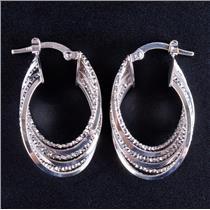 14k White Gold Multi Hoop Style Earrings W/ Latch Backs 3.2g