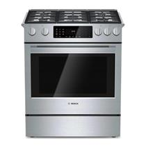 """Bosch 800 Series 30"""" 4.6 cb. ft. Duel Fuel Convection Stainless Range HDI8054U"""