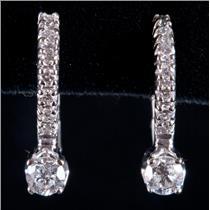 14k White Gold Round Cut Diamond Huggie Earrings W/ Omega Backs .46ctw