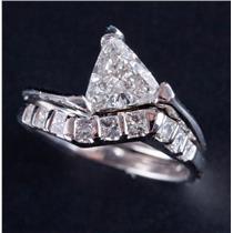 14k White Gold Trillion Cut Diamond Solitaire Engagement Wedding Set 2.04ctw