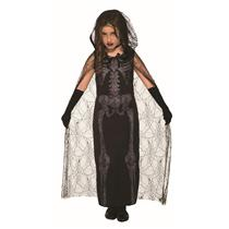 Graveyard Spirit Black Skeleton Dress Child Costume Size Medium 8-10