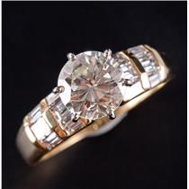 18k Yellow Gold Round Cut Diamond Solitaire Engagement Ring W/ Accents 2.31ctw