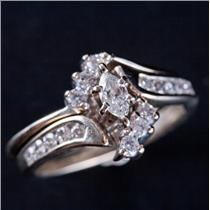 14k White Gold Marquise Cut Diamond Solitaire Engagement Wedding Ring Set .52ctw