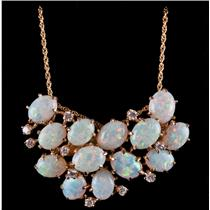 Vintage 1960's 14k Yellow Gold Opal & Diamond Necklace / Brooch 11.35ctw